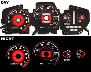 Fits 92 95 Eg Honda Civic Ex Red Reverse Glow Gauges Type r Black At