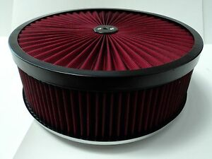 14 X 4 Round Red High Flow Thru Washable Air Cleaner Flat Base Lid Extreme 350