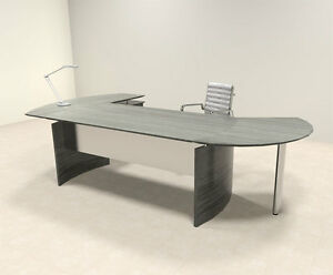 3pc Modern Contemporary L Shaped Executive Office Desk Set mt med o1