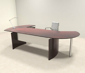 3pc Modern Contemporary L Shaped Executive Office Desk Set mt med o2