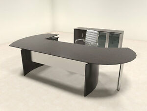 4pc Modern Contemporary L Shaped Executive Office Desk Set mt med o12