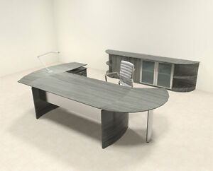 6pc Modern Contemporary L Shaped Executive Office Desk Set mt med o13