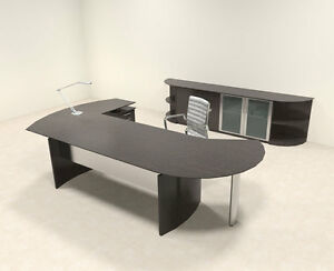 6pc Modern Contemporary L Shaped Executive Office Desk Set mt med o15