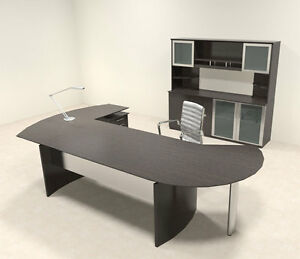 5pc Modern Contemporary L Shaped Executive Office Desk Set mt med o18