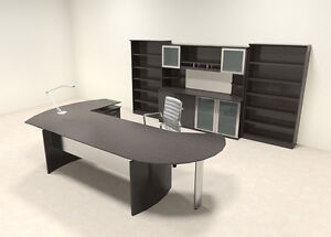 7pc Modern Contemporary L Shaped Executive Office Desk Set mt med o21