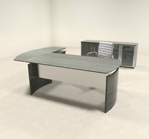 3pc Modern Contemporary L Shaped Executive Office Desk Set mt med o28