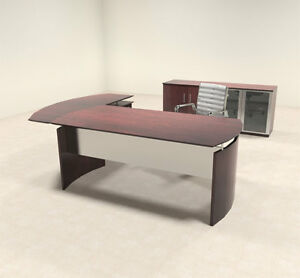 3pc Modern Contemporary L Shaped Executive Office Desk Set mt med o29