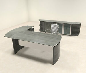 5pc Modern Contemporary L Shaped Executive Office Desk Set mt med o31