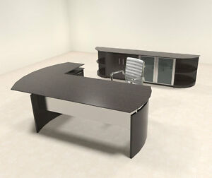 5pc Modern Contemporary L Shaped Executive Office Desk Set mt med o33