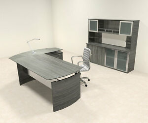 4pc Modern Contemporary L Shaped Executive Office Desk Set mt med o34
