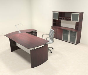 4pc Modern Contemporary L Shaped Executive Office Desk Set mt med o35