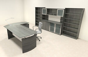 4pc Modern Contemporary L Shaped Executive Office Desk Set mt med o36