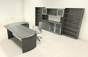 6pc Modern Contemporary L Shaped Executive Office Desk Set mt med o37