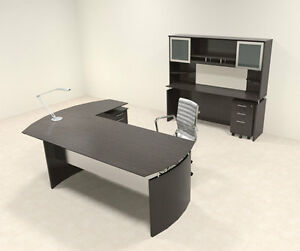 5pc Modern Contemporary L Shaped Executive Office Desk Set mt med o42