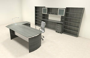 7pc Modern Contemporary L Shaped Executive Office Desk Set mt med o43