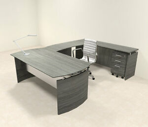 4pc Modern Contemporary U Shaped Executive Office Desk Set mt med u1