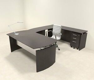 4pc Modern Contemporary U Shaped Executive Office Desk Set mt med u3