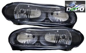 Oe Type Black Head Lamps By Depo Compatible With 1998 2002 Chevrolet Camaro