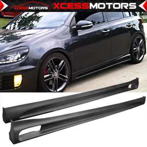 Fits 10 14 Vw Golf Rg Style Side Skirts Rocker Panel Extension 2pc Unpainted Pu
