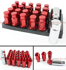 20 Pcs Red R Style Close End Extended Wheel Lug Nuts Lock Key For Mitsubishi