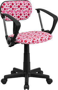 Flash Furniture Pink Dot Printed Swivel Task Chair With Arms