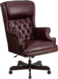 Flash Furniture High Back Traditional Tufted Burgundy Leather Executive
