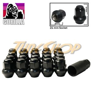 16 4 Lock Gorilla Large Seat Oem Oe Stock Wheels Lug Nuts 14x1 5 M14 Rims Black