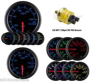 Glowshift Black 7 Color Oil Pressure Psi Gauge Gs c704