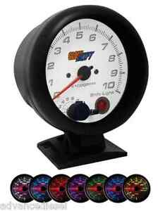 Glowshift White 7 Color 3 3 4 Tachometer Gauge With Shift Light Gs W709