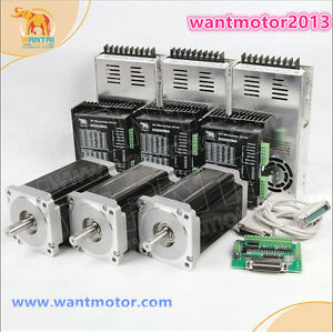 Us Free Wantai 3axis Nema34 Stepper Motor Dual Shaft 1600oz in driver 7 8a Cnc