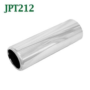 Jpt212 2 5 Chrome Round Pencil Exhaust Tip 2 1 2 Inlet 2 3 4 Outlet 9 Long