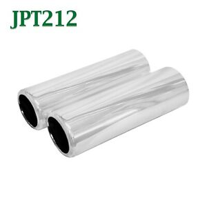 Jpt212 Pair 2 5 Chrome Pencil Exhaust Tips 2 1 2 Inlet 2 3 4 Outlet 9 Long