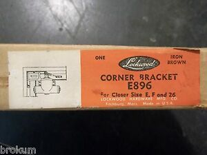 Vintage Nos Lockwood Hardware E896 Corner Bracket Iron Brown
