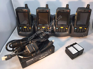 Lot Of 4 X Symbol Motorola Mc7094 Mc70 Barcode Scanner Gsm Wm6 4slot Cradle