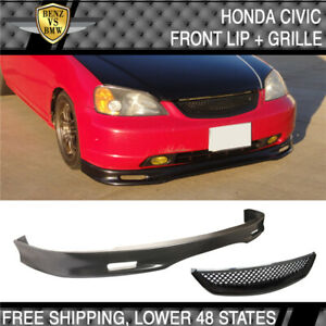 Fit 01 03 Honda Civic 2 4 Door Spoon Style Front Bumper Lip Pu Hood Grille Abs