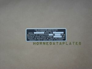 Studebaker Pickup Truck Serial Number Data Plate Id Tag Zinc 1946 1947 1948 1949