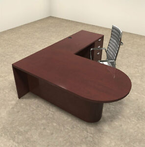 3pc Wood Modern L Shaped Executive Office Desk Set ot vet l3