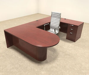 4pc Wood U Shaped Modern Executive Office Desk Set ot vet u9