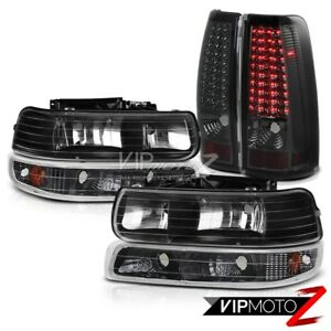 99 02 Chevy Silverado 1500 2500 Hd bright Led Tech Smoke Tail Light Headlamps
