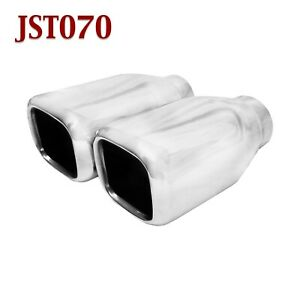 Jst070 Pair 2 25 Stainless Square Exhaust Tips 2 1 4 Inlet 4 Outlet 7 Long