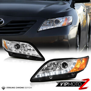 For 2007 2009 Toyota Camry Euro Angel Eye Halo Chrome Projector Headlight Lamp
