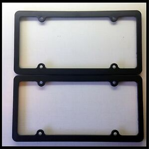 Black Blank License Plate Frame Set Thin Plain Plastic Cover Tag Holder Jdm Car