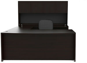 New Amber Bowfront U shape Executive Office Desk Shell With Hutch