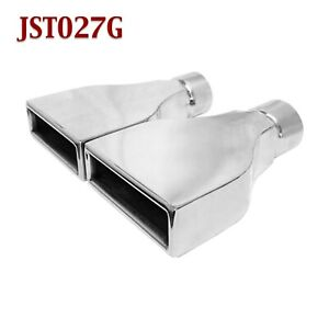Jst027g Pair 2 5 Stainless Rectangle Camaro Exhaust Tips 2 1 2 Inlet 6 Wide