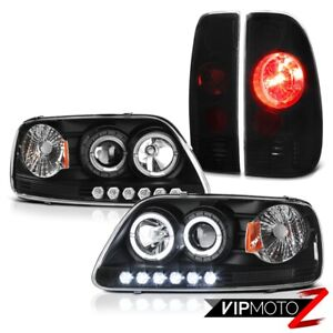 For 97 03 Ford F150 Black Led Halo Projector Headlights Rear Brake Tail Lights