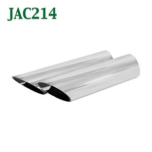 Jac214 Pair 2 1 4 2 25 Chrome Angle Cut Exhaust Tips 2 1 2 Outlet 9 Long