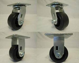 4 X 2 Swivel Casters Rubber Wheel On Steel 2 Rigid 2 350lb Each Tool Box