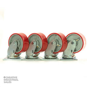 5 X 2 Swivel Casters Polyurethane Wheel On Steel Hub 1000lb Each 4 Tool Box