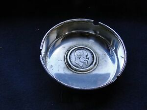 Italian Sterling Silver Memento Ash Tray Coin Middle 1950 Marked