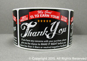 1000 Ebay Amazon Shipping Labels Thank You For Your Purchase 5 Star Stickers